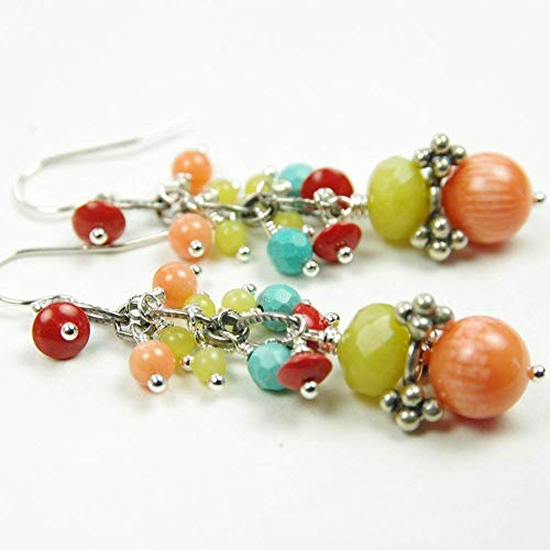 Peach Red Coral Earrings Jade Turquoise Sterling Silver Bali Bead Gemstone Dangle 35th Anniversary