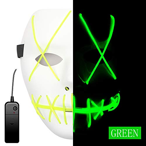 Ansee Scary Mask Halloween Cosplay Led Costume Mask El Wire Light Up Mask for Festival Parties (Green)