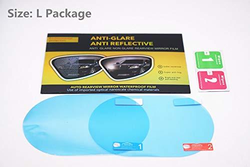 2Pcs HD Car Rearview Mirror Protective Film,Anti Water Mist Film Anti Fog, Anti-Scratch, Rainproof Rear View Mirror Window Clear Protective Film.(2 Packs) (L) (Film Screen Mirror)