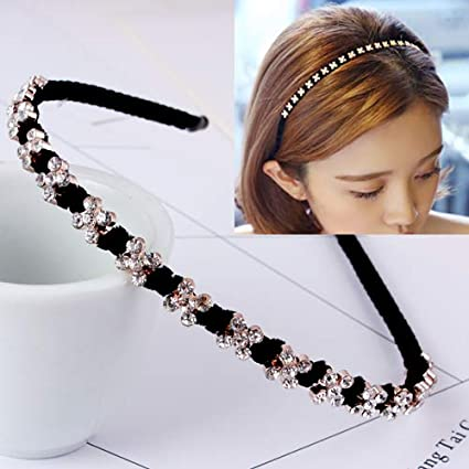 Accesorio para el cabello Diamante aro de cabello fino Versión coreana de la perla rhinestone doble fila diadema banda para el cabello horquilla simple cabeza joyería 25