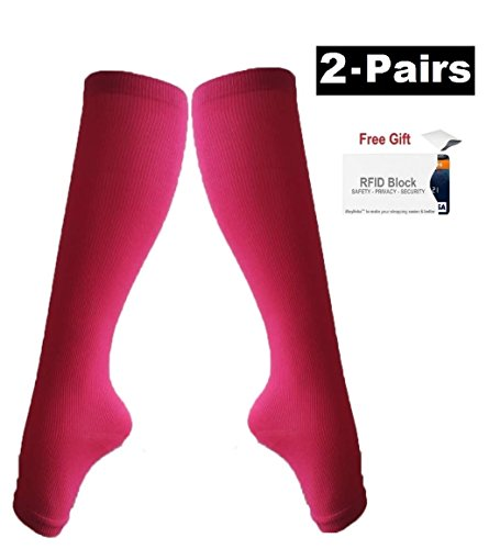 Cheap 2Pair Open Toe Compression Knee High Anti-Fatigue Sock Calf Support Stocking supplier xOzV2ngt