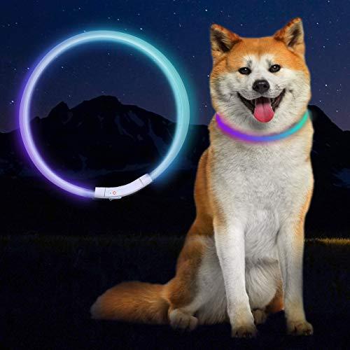Collare di Sicurezza per Collare per Cani a LED, Ricaricabile Tramite USB, Lunghezza Regolabile 70 CM, con tre Modalità…