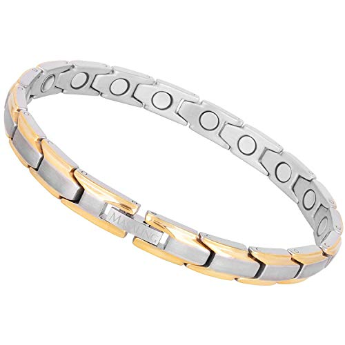 Masaling Magnetic bracelets for women,Titanium Magnetic Therapy Bracelets for Arthritis Pain Relief and Carpal Tunnel (Golden Silver) best to buy