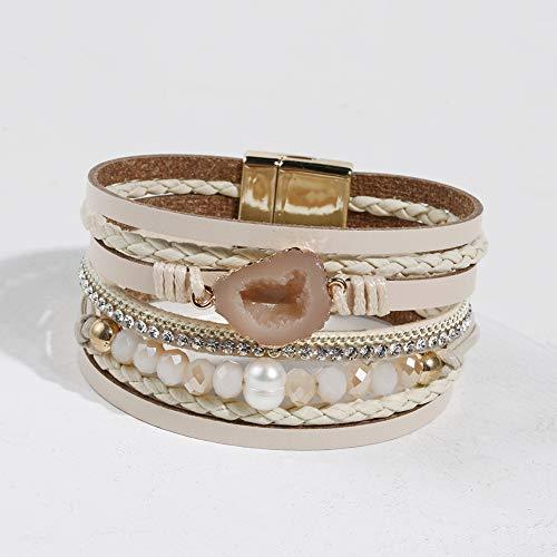 Vercret Leather Wrap Bracelet for Women - Multi-Layer Bracelets for Girl, Ideal Gift Bracelet for Women, Big Sister, Mom (Cream) ()