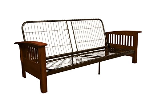 Brentwood Mission-Style Futon Sofa Sleeper Bed Frame, Full-size, Walnut Arm Finish