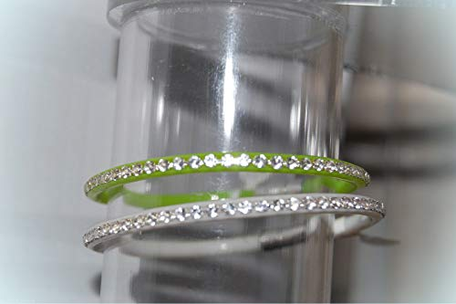 Antique White Lime Crystal - Thin Rhinestone Bangle Bracelet For Women LOT OF TWO Lime Green WHITE