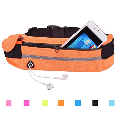 Waist Pack Bag, Fanny Pack with Reflective Strip Water Bottle Key Cash Holder for Running, Hiking, Climbing, Riding and Walking, Fits iPhone Samsung Google LG and More 3.7
