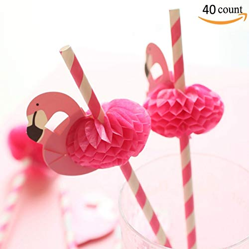 - Flamingo Paper Straw Decorations - Drinking Straws Decorative For Party Table Decor, 40 Count