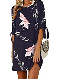 fe073e767e2 Women Plus Size Floral Stylish Lace up Detail Crew-Neck Midi Dress