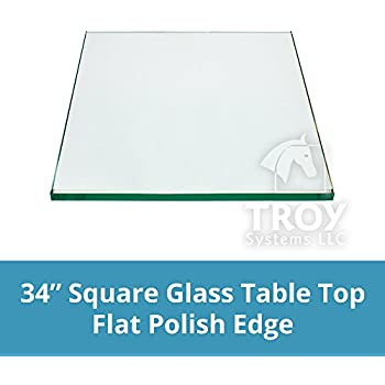 16 Inch Square Glass Table Top, 1/2 Inch Thick, Bevel Polished Edge, Eased  Corner. TroySys
