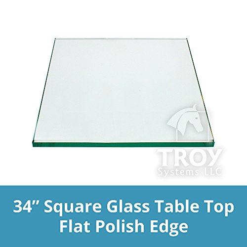 TroySys Flat Polished Annealed Glass Table Top, Thick Square, 34'' L x 1/2'' H by TroySys