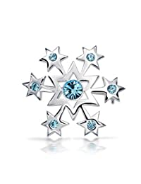 Bling Jewelry Blue Crystal 925 Silver Star Snowflake Polished Pin Brooch