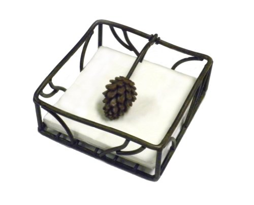 "Metal Pine Cone cocktail Napkin Holder With Pine Cone Weight - 5.5"" Square"
