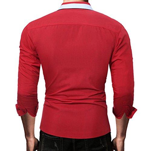 Casual Larga hombres Masculino Sólido De Camisa Rojo Tops Color Moda Manga Hombre Camisas vFq8E