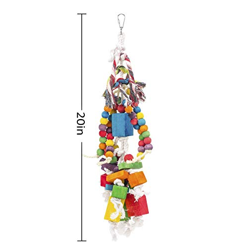 MEWTOGO Amazon Parrot Toy - Multicolored Wooden Blocks and Rope Tearing Toys Suggested for African Grey Cockatoos, and a Variety of Amazon Parrots.