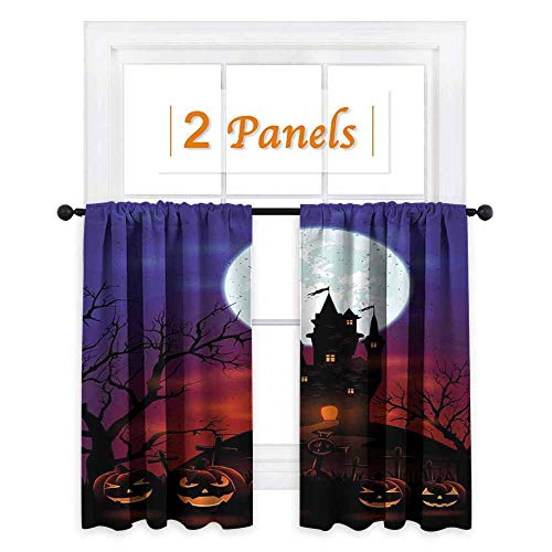 maisi Halloween, Room Darkening Wide Curtains, Gothic Haunted House Castle Hill Valley Night Sky October Festival Theme Print, for Kitchen Windows (W55 x L45 Inch) Multicolor -