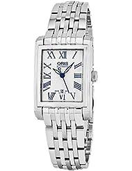 Oris Rectangular Date Womens Silver Face Luminous Hands Swiss Made Stainless Steel Rectangle Automatic Watch 01...