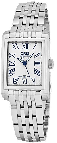 Oris Rectangular Date Womens Silver Face Luminous Hands Swiss Made Stainless Steel Rectangle Automatic Watch 01 561 7656 4071-07 8 17 - Jewel Swiss Watch