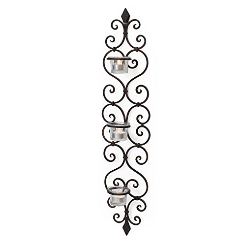Adeco Decorative Iron Vertical Candle Tealight Pillar Holder Wall Sconce, Antique Vintage Style, Classy Home Decor Accents