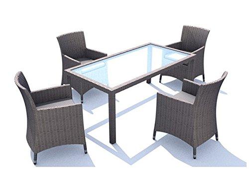 Rattan Gartenmöbel Essgruppe Linea Set 1 - mit 4 Sesseln und 180cm Tisch - Farbe: Taupe