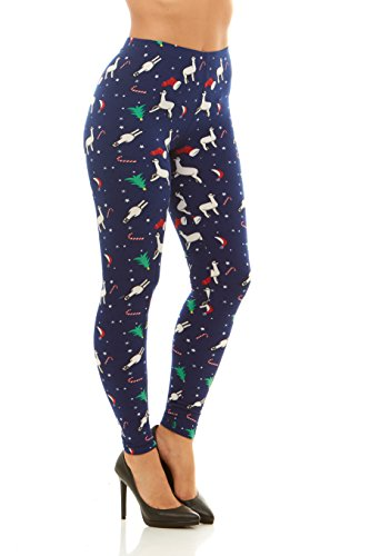 Just One Women's Winter Holiday Christmas Leggings (Blue Llama, 3X)