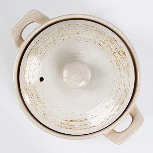 XHHXPY Cocotte en Ceramique Pot à Ragoût de Santé Binaural Domestique avec Un Couvercle Flamme Nue et Résistance à Haute Température,8.5L