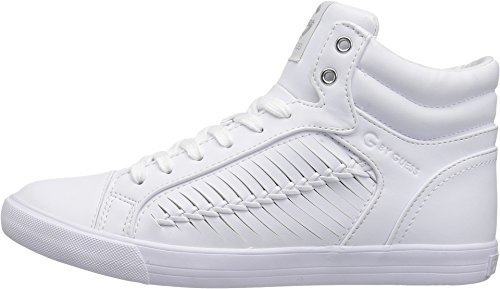 G Door Guess Womens Olisa Hoogte Top Lace Up Mode Sneakers Wit Nappa Pu