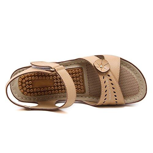 Damen Sommer PU Leder Bohemia Vintage Flach Sandalen 411 Beige