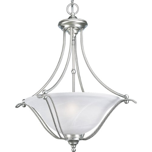 Progress Lighting P3773-09 3-Light Avalon Hall and Foyer Fixture, Brushed Nickel (33 Cobblestone Finish Chandeliers)
