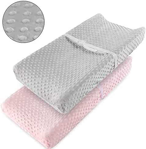 Vextronic Ultra Soft Changing Pad Cover Changing Table Cover for Baby Girls Boys,2 Packs (Pink&Grey)