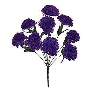 Kampoojoo - Purple Carnations Bush Centerpieces Silk Wedding Flowers Bouquets (Set of 9) 40