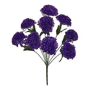 Kampoojoo - Purple Carnations Bush Centerpieces Silk Wedding Flowers Bouquets (Set of 9) 55