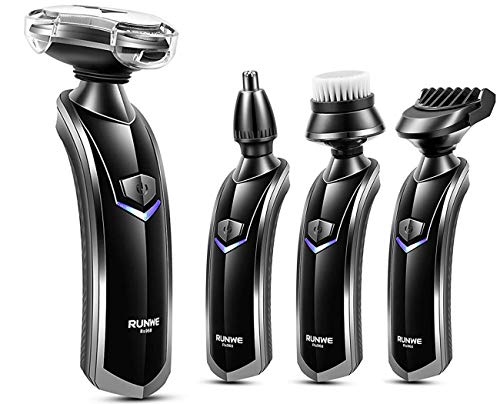 Comb Elec (RUNWE Rs968 All-In-1 Men's Grooming Kit Set Electric Rotary Shaver/Beard Trimmer/Nose Hair Trimmer/Face Cleaning Brush with Cordless Charging Dock for Wet & Dry Use)