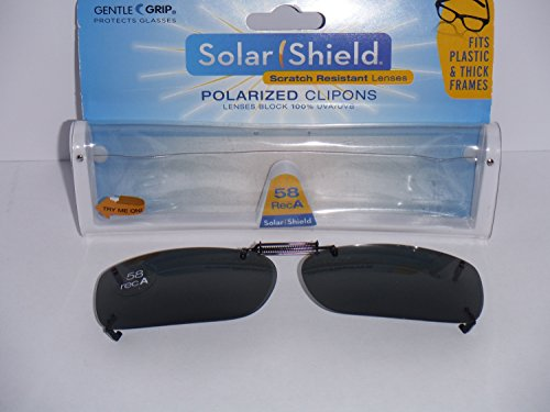 Solar Shield Polarized Clip-on Sunglasses Gray Lenses 58 Rec a Fits Plastic or Thick Frames ()