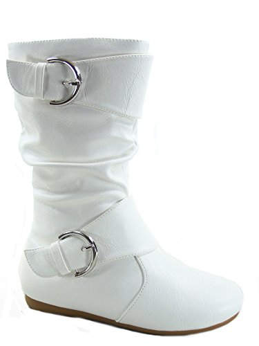 Link Klein-80k Girl's Kid's Cute Faux Leather Two Buckle Zipper Flat Heel Mid Calf Boot Shoes (9 B(M) US, White)