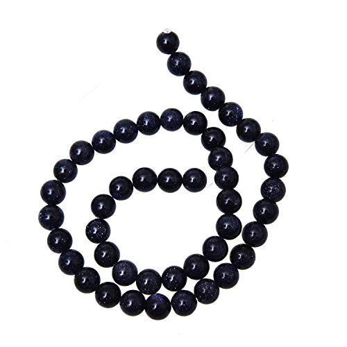 Monrocco Natural Blue Sand Goldstone Gemstone Round Loose Beads for Jewelry Making,DIY Handmade Spacer Bead for Bracelet Necklace Earrings Jewelry Accessories (8mm)