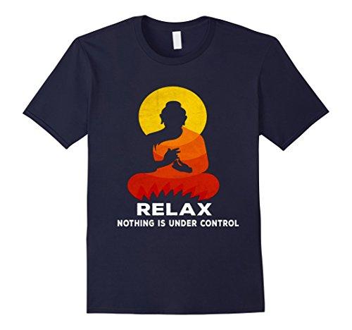 Mens Zen Yoga Buddha Statue Buddhism T shirts - Relax shirts XL Navy by Buddha And Yoga T shirts