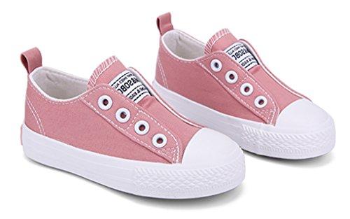 VECJUNIA Mädchen Freizeit Slip On Flach Low-Top Wander Slipper Segeltuchschuh Pink