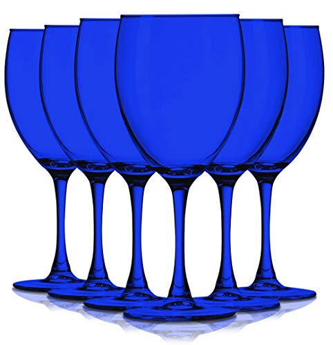 (Cobalt Blue 10 oz Nuance Accent Stem Wine Glasses - Set of 6 by TableTop King - Additional Vibrant Colors Available)