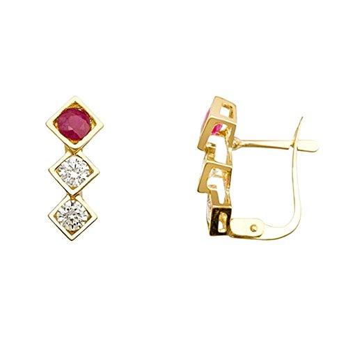 Boucled'oreille 18k or diamants rubis zircons [AB2106]