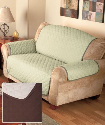 Chocolate/Tan Reversible Quilted Loveseat Cover