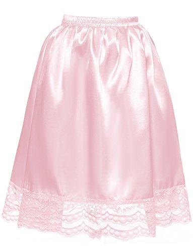 ourlet ligne A jupe lastique Underskirt vtements DYSS demi sous Satin jupon dentelle courte Rose avec Femmes qF407w