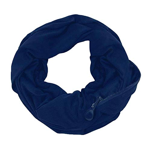 Infinity Scarf Unisex Lovers Winter Solid Warm Loop Scarf Zippered Secret Pocket Shawl Ring Warm Color Warm Zipper For Easy Storage Pocket Collar Double Wrap Scarf (Blue, 1PC)