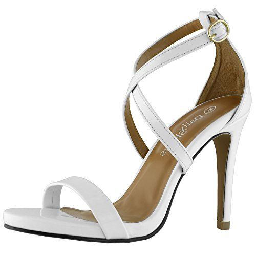 White Leather Strap Sandal (DailyShoes Women's Platform High Heel Bridesmaid Sandal Open Toe Ankle Adjustable Buckle Cross Strap Pump Evening Dress Casual Party Shoes, White PT, 8 B(M) US)