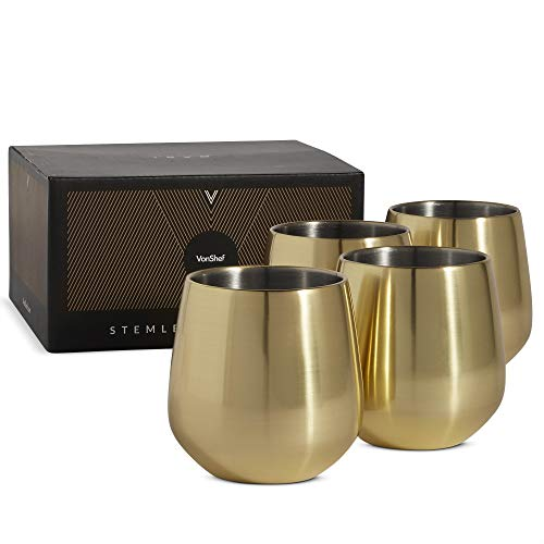 VonShef Brushed Gold Stemless Wine Glasses, Stainless Steel 12oz Double Walled Cups, Set of 4 Wine Tumblers with Gift Box