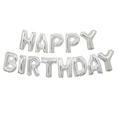 Foil Silver Happy Birthday Letter Balloon Banner (Happy Halloween Birthday Wishes)