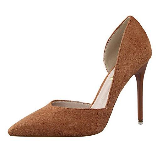 Aalardom Dames Spikes-stilettos Puntige Teen Stevige Stevige Pumps-schoenen Kaki-mat