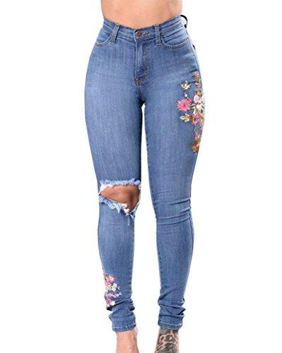 A Azzurro Skinny Vita Ginocchio Jeans Alta Pantaloni Ricamo Legging Elasticità Strappati Donna a4PEq0xP