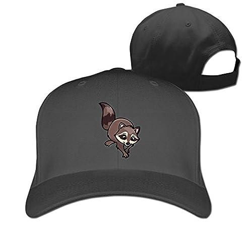 Funny Cute Raccoon Flex Fitted Ajustable Peak Cap Black (Year Of The Raccoon)