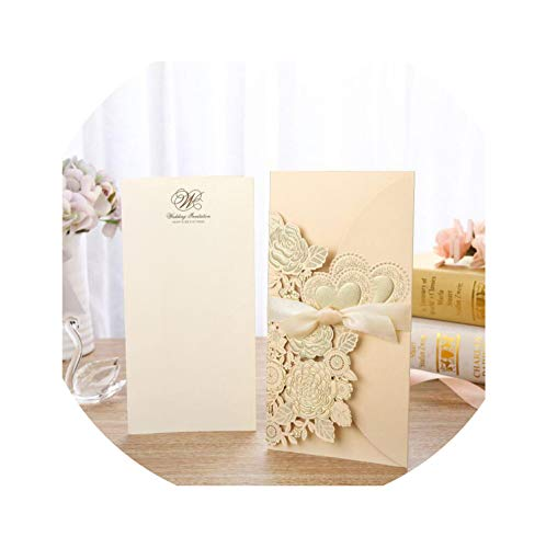 qiao-qiao-store 50pcs Gold Cut Wedding Invitations Card Rose Heart Greeting Cards Customize Envelopes with Ribbon Wedding Party Supplies-in Cards & Invitations from Home & Garden,Cover and Inner c from qiao-qiao-store
